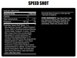 ABB- Speed Shot- Nutrition Facts