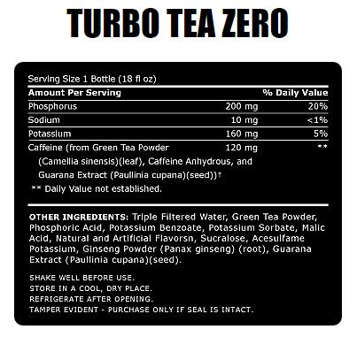 ABB- Turbo Tea Zero- Nutrition Facts