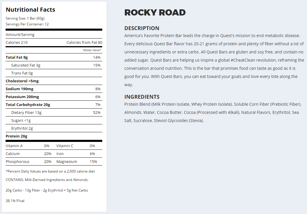 Quest Nutrition- Rocky Road Protein Bar- Nutrition Facts