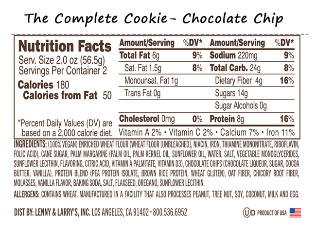Chocolate Chip Cookie Cake Nutrition Facts