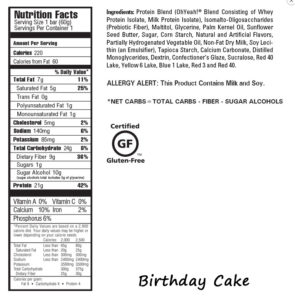 Oh Yeah!- One Bar Birthday Cake- Nutrition Facts