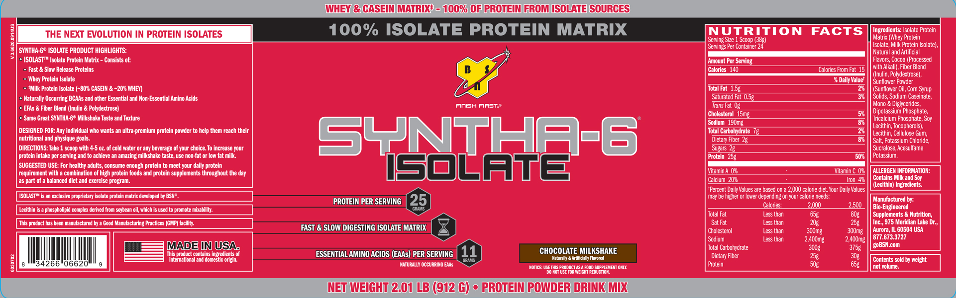 BSN Supplements- Syntha-6 Isolate 2lb Chocolate Milkshake Label