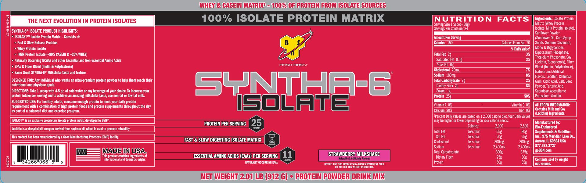 BSN Supplements- Syntha-6 Isolate 2lb Strawberry Milkshake Label