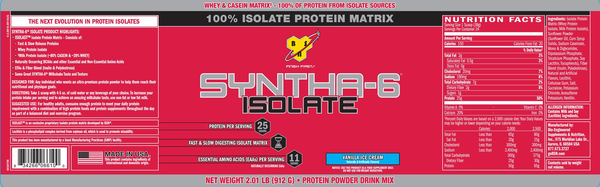 BSN Supplements- Syntha-6 Isolate 2lb Vanilla Ice Cream Label