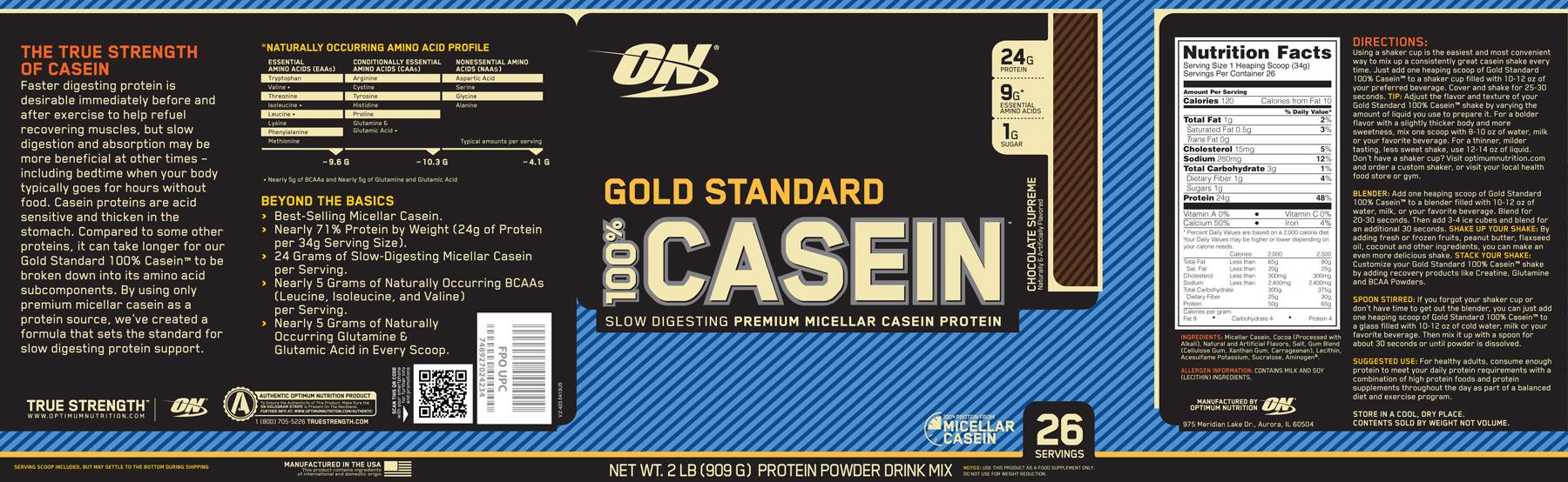 Optimum Nutrition- Gold Standard 100% Casein 2lb Chocolate Label