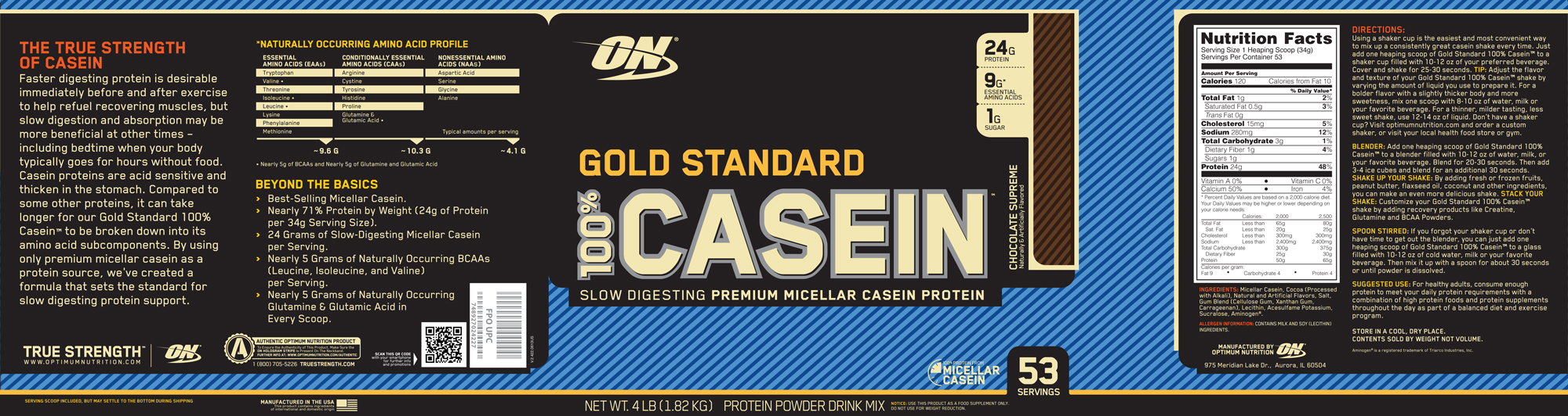 Optimum Nutrition- Gold Standard 100% Casein 4lb Chocolate Label