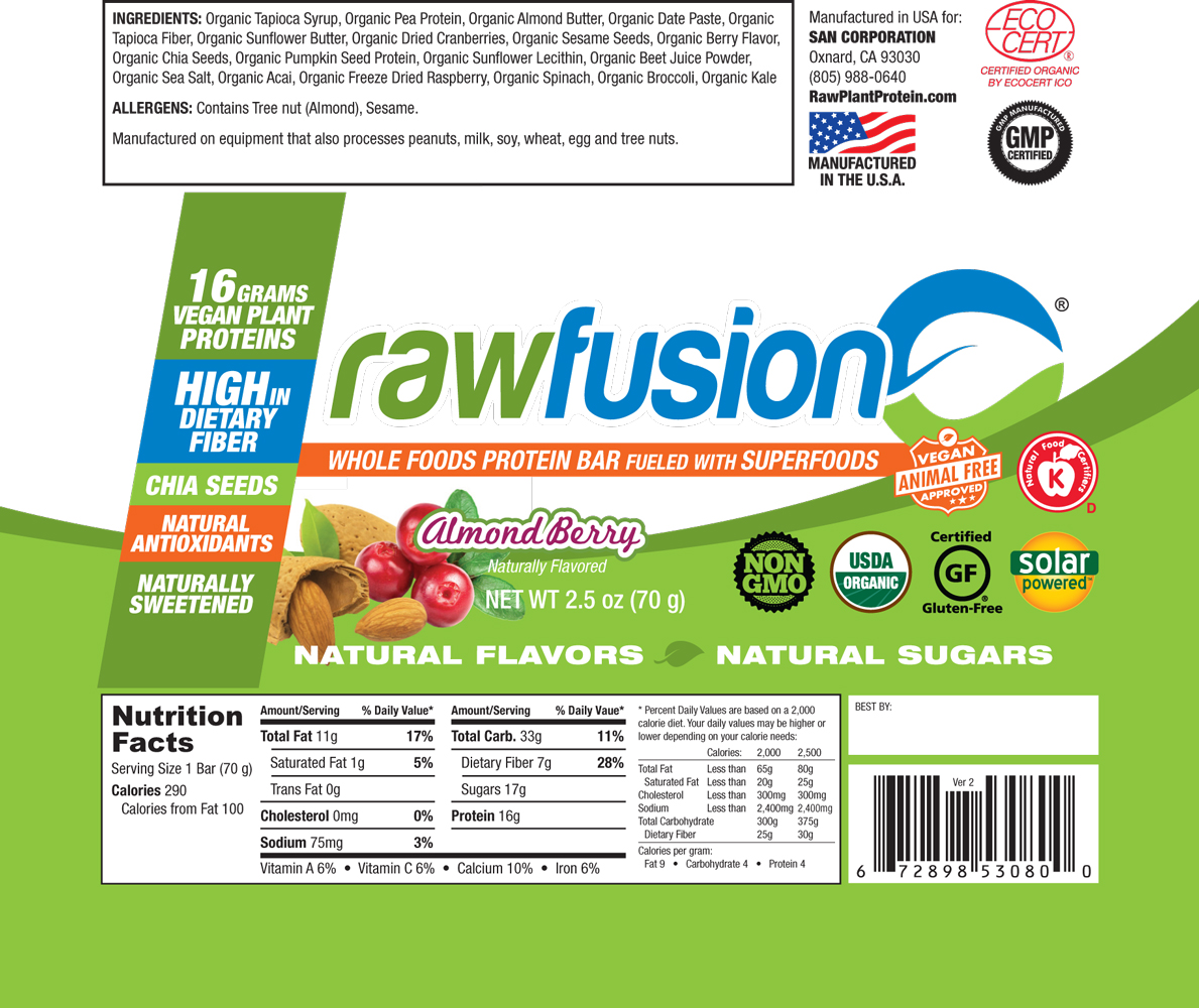 SAN Nutrition- Raw Fusion Bar Almond Berry Label
