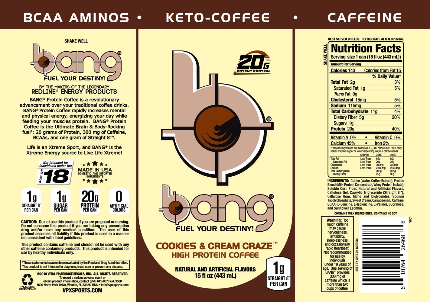 Vpx Bang Keto Coffee 16oz 12cs Elite Nutritional Products